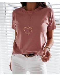 Дамска тениска в розово с принт сърце - код 3700