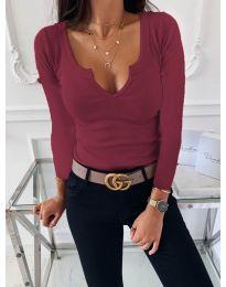 Изчистена дамска блуза в бордо - код 875