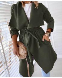 Свободно палто в маслено зелено - код 8778