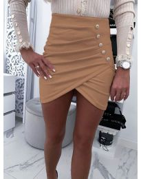 Къса пола с набори и декоративни копчета в кафяво - код 021