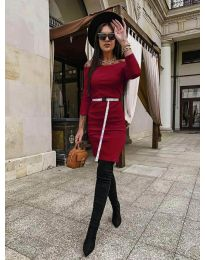 Дамска рокля в бордо - код 5190
