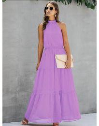 Свободна дълга рокля в лилаво - код 8855