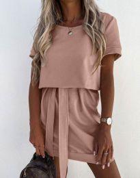 Дамска рокля в цвят пудра - код 6737