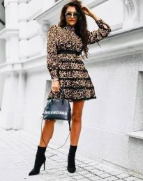 Дамска рокля с леопардов десен - код 35911 - 1