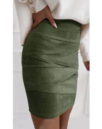 Стилна пола в маслено зелено  - код 7451