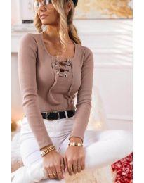 Блуза с връзки в цвят пудра - код 1582