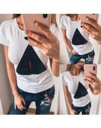Бяла тениска с кожен елемент - код 898