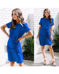 Изчистена рокля в цвят тъмно синьо - код 835