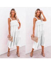 Свободна дамска рокля в бяло- код 7791