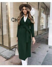 Дълго дамско палто с колан в маслено зелено - код 4941