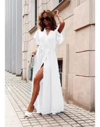 Ефирна дълга рокля с цепка в бяло - код 666