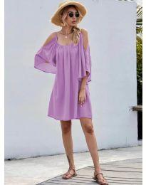 Свободна изчистена рокля в лилаво - код 3022