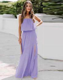 Дамска рокля в лилаво с цепка - код 8871