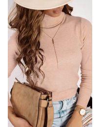 Дамска блуза с поло яка в цвят праскова - код 8861