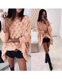 Свободна дамска плетена блуза в цвят пудра - код 847