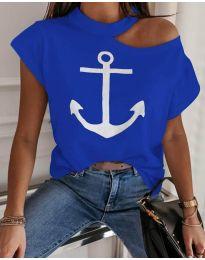 Тениска с голо рамо в син цвят с котва - код 206