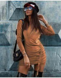 Дамска рокля в медно кафяво - код 9545