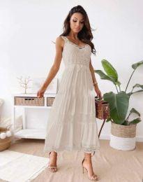 Атрактивна дамска рокля в бежово - код 4672