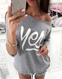 Дамска блуза в сиво с надпис - код 0996