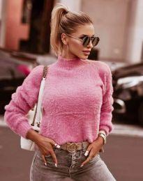 Пухкава дамска блуза с поло яка в розово - код 4798