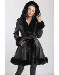 Дълго яке в черно с пух - код 0616