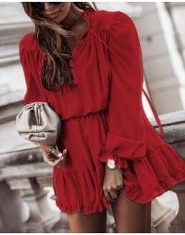 Свободна дамска рокля в бордо - код 3231