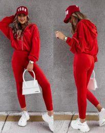 Спортен дамски комплект в червено - код 7034