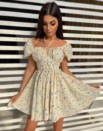 Къса дамска рокля с флорален десен - код 5874 - 1