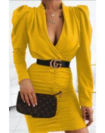 Стилна рокля в цвят горчица - код 953