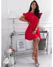 Разкроена рокля в червен цвят - код 3145