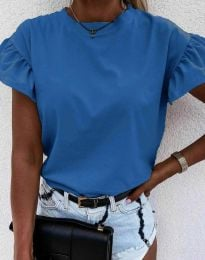Дамска тениска с ефектни ръкави в тъмносиньо - код 4352