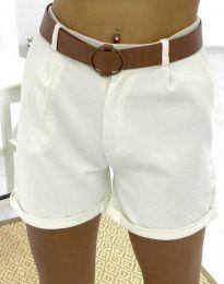 Къси дамски панталонки в бяло - код 2236
