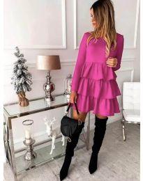 Стилна дамска рокля в цвят циклама - код 966