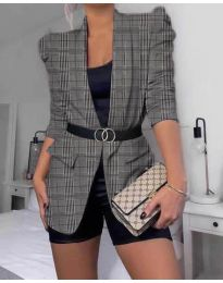 Дамско елегантно сако на каре в сиво и черно - код 680
