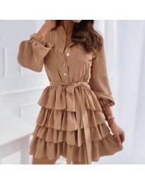 Атрактивна рокля в кафяво - код 7356