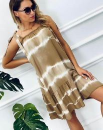 Свободна дамска рокля в бежово - код 6426