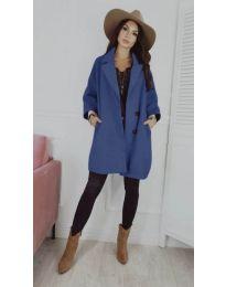 Свободно дамско палто в синьо - код 276