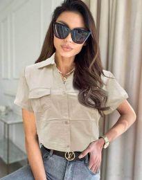Дамска риза с къс ръкав в бежово - код 0627