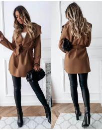 Дамско палто с колан в кафяво - код 643