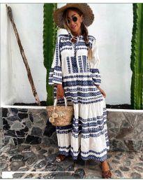 Дълга рокля с атрактивен десен в бяло и тъмно синьо - код 3355-5