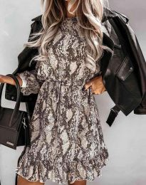 Дамска рокля с ефектен десен - код 6448 - 1