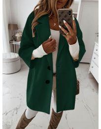 Дамско палто с копчета в зелено - код 413