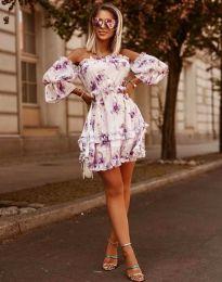 Ефирна дамска рокля в бяло с флорален десен - код 1402 - 1