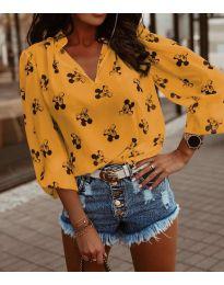 Дамска блуза в цвят горчица - код 1619