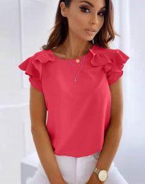 Блуза с ефектни ръкави в цвят циклама - код 3299