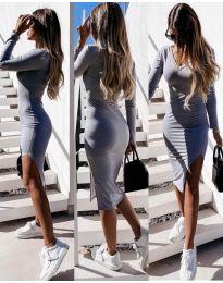 Стилна дамска рокля в сиво - код 8291
