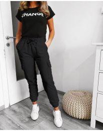 Панталон със странични джобове в черно - код 3089