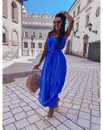 Дълга дамска рокля в тъмно синьо - код 1230
