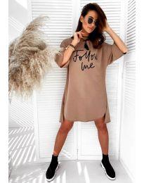 Дамска рокля в цвят медно кафяво - код 0522