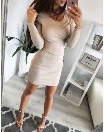 Дамска рокля по тялото в бежово - код 3298